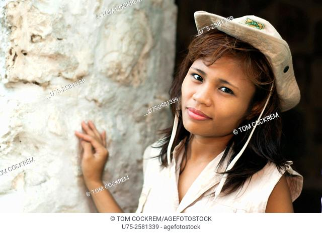 Young Asian woman as safari guide on location, Cebu, Philippines