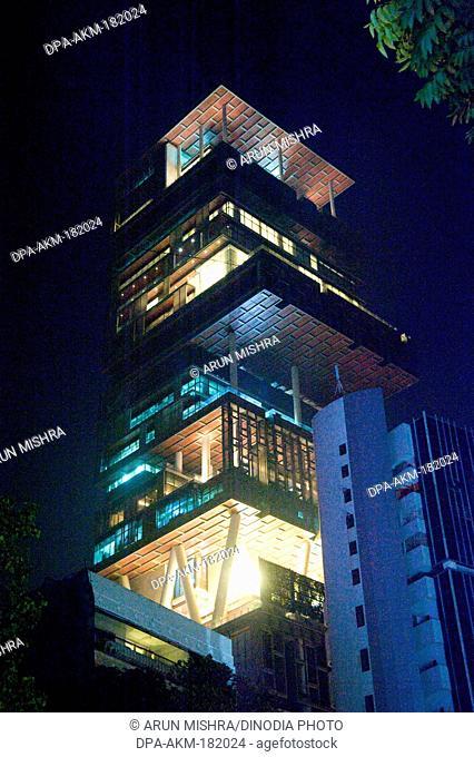 Building of Mukesh Ambani home Antilia Mumbai Maharashtra India Asia