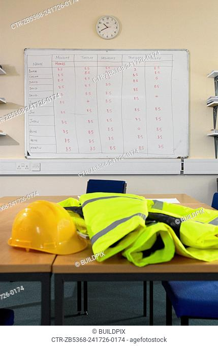Timesheet schedule with health and safety gear