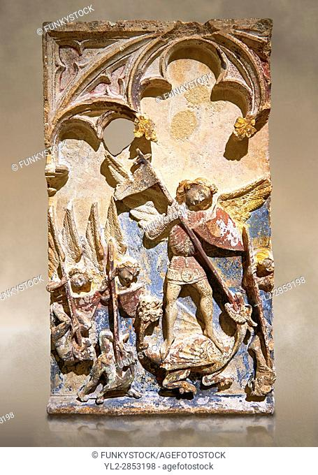 Late 13th or 14th century Gothic Bas-relief depicting the miracle performed by St Michael at Mont St Michael. limestone with traces of polcrome from the Church...