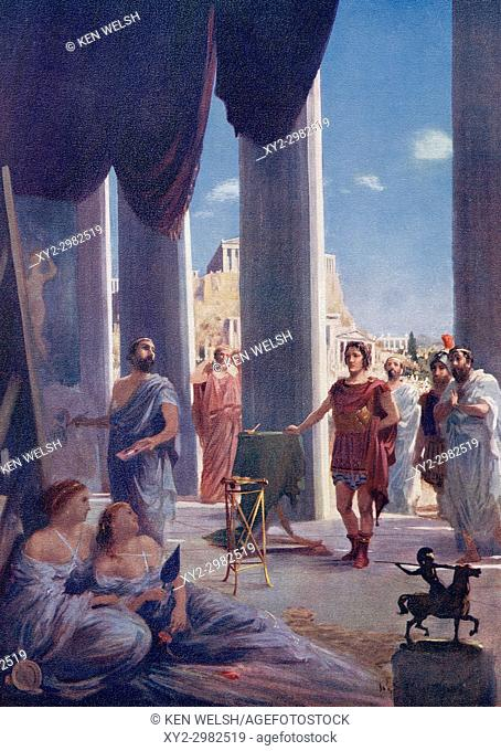 Alexander The Great in the studio of Apelles to arrange the painting of his portrait. Apelles of Kos, c. 332-329 BC. Renowned painter of ancient Greece