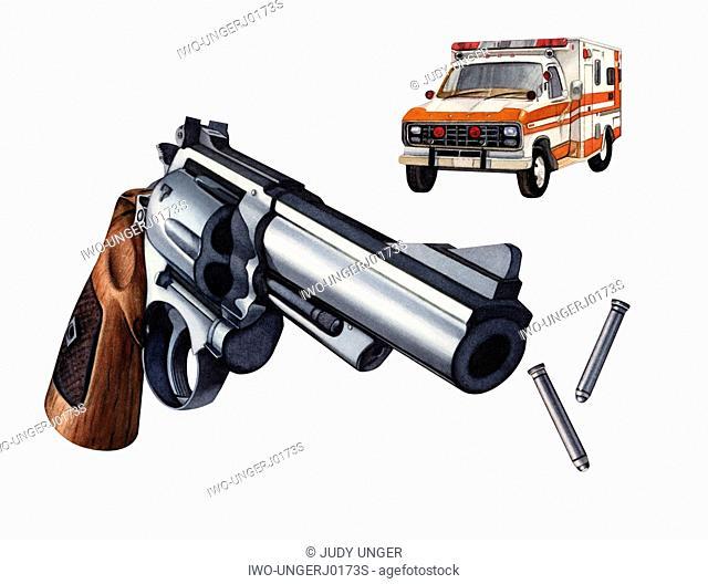 Gun, Bullets and and Ambulance