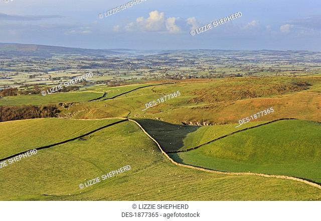 ingleton, yorkshire, england, looking down from twistleton scars
