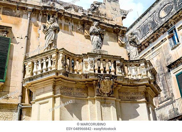 Propylaea, iconic main gateway of Cathedral Square in Lecce, Salento, Apulia, Italy