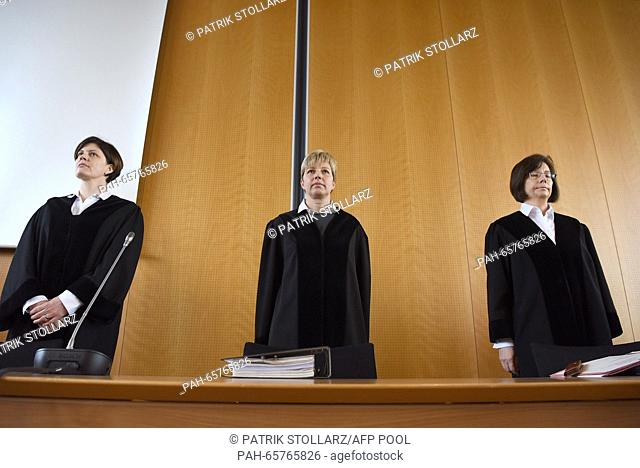 Preseding judge Anke Grudda (C) and judges Sabine Tegethoff-Drabe (L) and Sylvia Suermann (R) are pictured prior to the opening of the trial against a former...