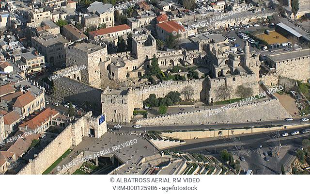 Aerial HD shot of the Tower of David in the old city of Jerusalem