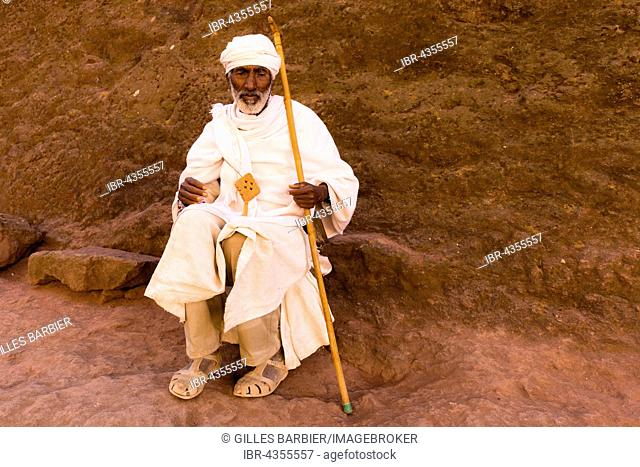 Old Priest, Southern Cluster, Lalibela, Ethiopia, Africa