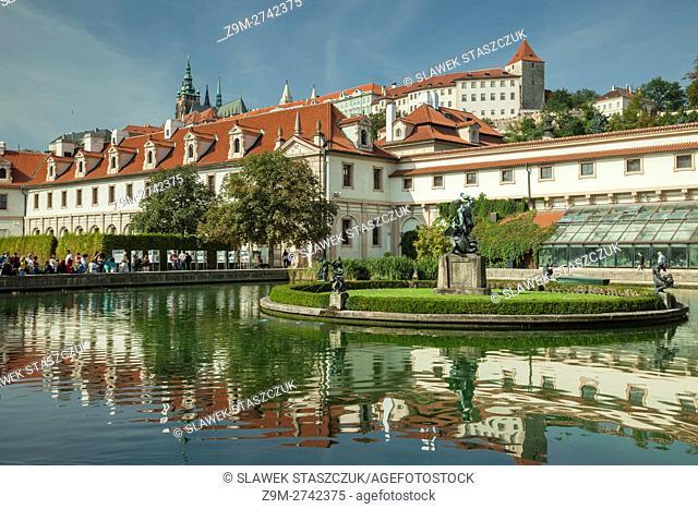 Hradcany towering above Wallenstein Garden. Prague, Czech Republic