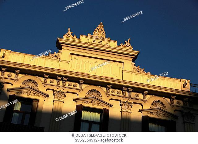 Hotel Internacional constructed in 1894, Building detail. Las Ramblas, Barcelona, Catalonia, Spain