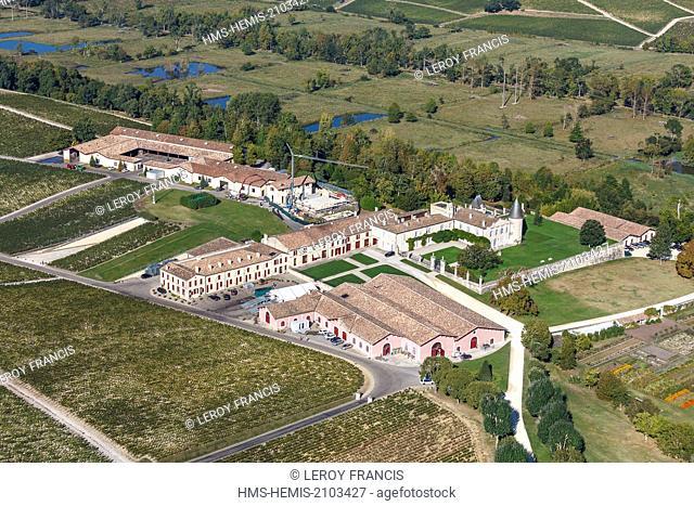 France, Gironde, Pauillac, Chateau Lafite Rotschild first growth Pauillac (aerial view)