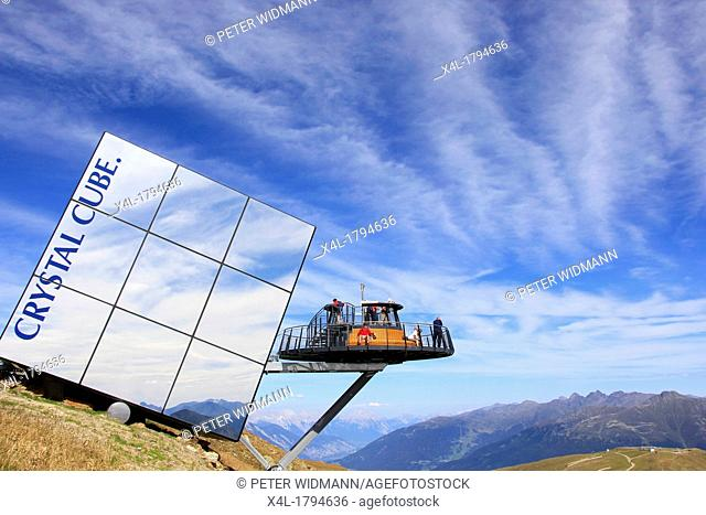 Lookout and Crystal Cube in the hills near Fiss, Serfaus, Ladis, Tyrol, Austria