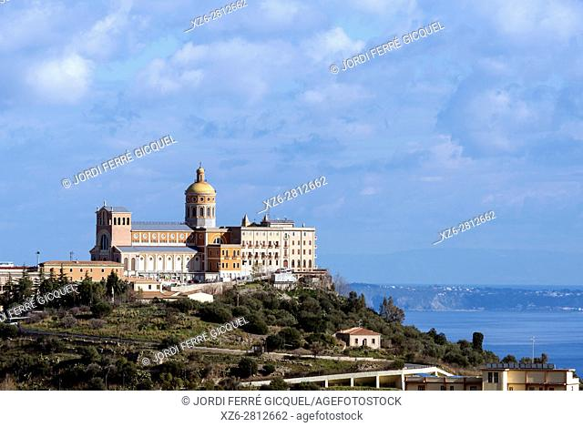Santuario di Tindari viewed from the road SP 108, Province of Messina, Sicily, Italy, Europe