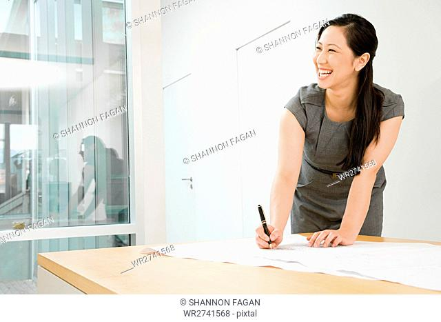 Smiling female architect