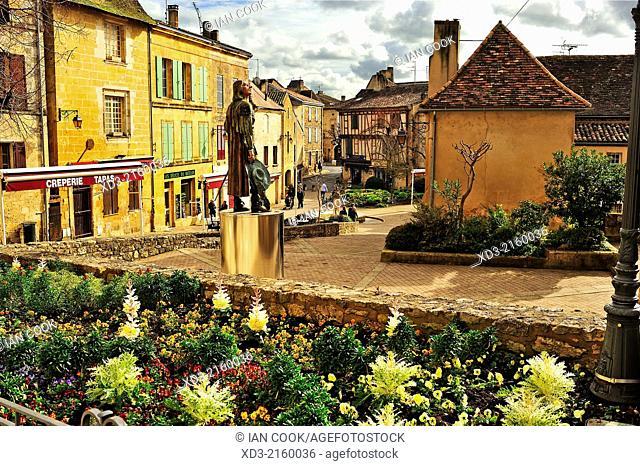 Cyrano de Bergerac statue, Bergerac, Dordogne Department, Aquitaine, France