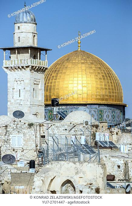 Dome of the Rock shrine on the Temple Mount, Muslim Quarter of the Old City of Jerusalem, Israel