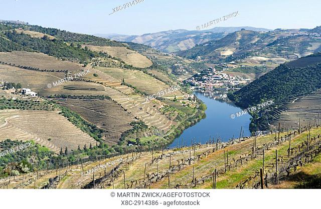 View over river Douro towards village Pinhao. The valley of river Douro. It is the wine growing area Alto Douro and listed as UNESCO World heritage