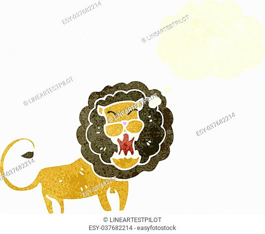 roaring lion with thought bubble retro cartoon