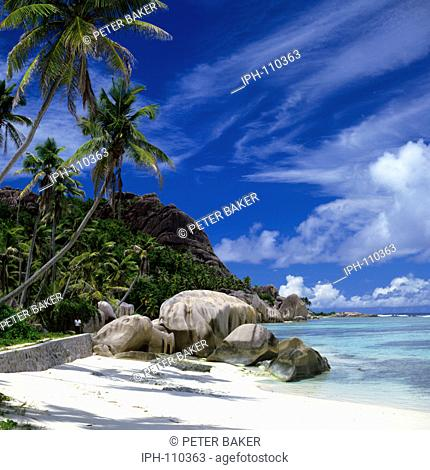 Anse Source D'Argents, a beautiful tropical beach on the island of La Digue