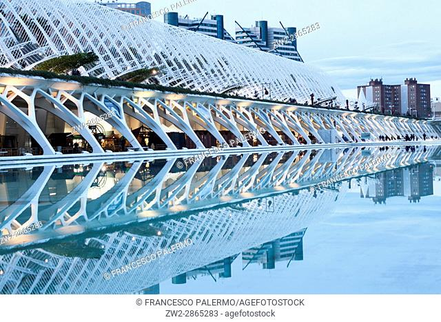Umbracle architecture reflected in the water at winter twilight. Valencia, Spain