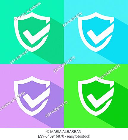 Active protection shield icon with shade on colored backgrounds