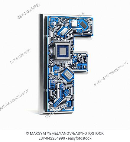 Letter F. Alphabet in circuit board style. Digital hi-tech letter isolated on white. 3d illustration