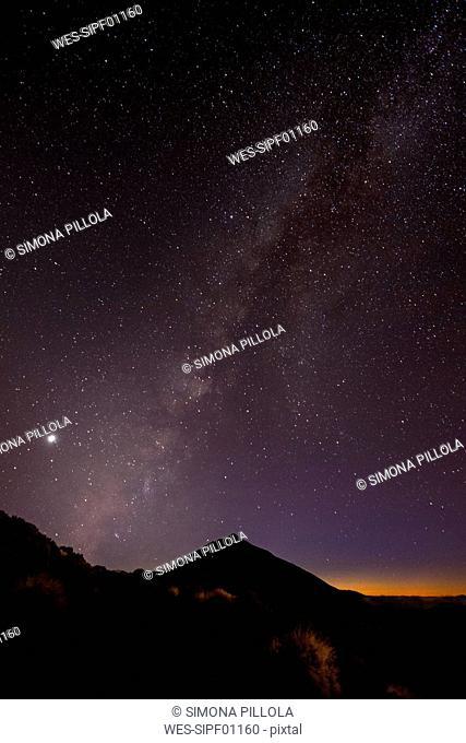 Spain, Tenerife, night shot with stars and milky way over Teide Volcano