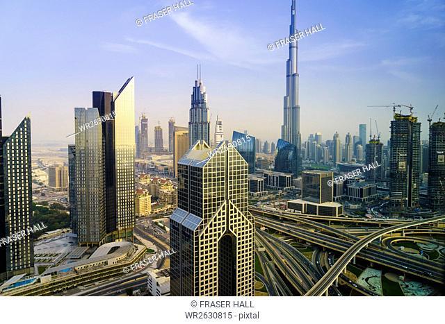 Burj Khalifa and Sheikh Zayed Road Interchange, Downtown Dubai, Dubai, United Arab Emirates, Middle East