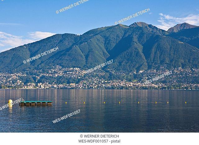 Switzerland, Ticino, View of Locarno with Lake Maggiore