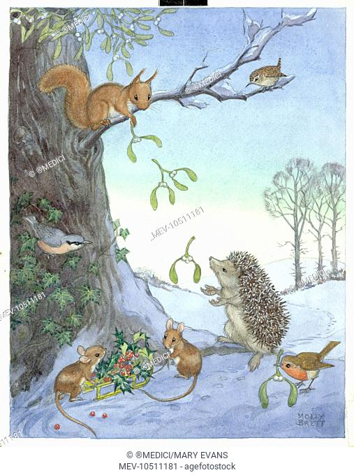 A cute gathering of woodland creatures gather together foliage for Christmas decorations
