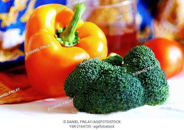 Vitamin juice, pepper and broccoli still life, near London window