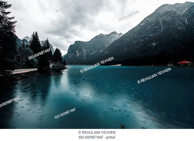 Landscape with lake and snow capped mountains, Dolomites, Italy