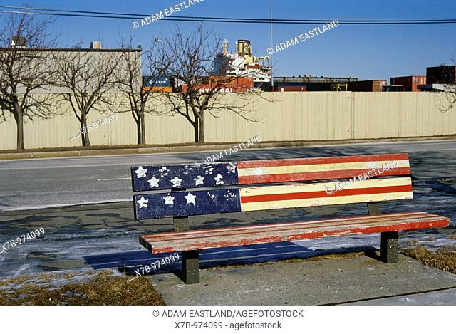 USA  Boston  Bench painted with the stars and stripes, South Boston