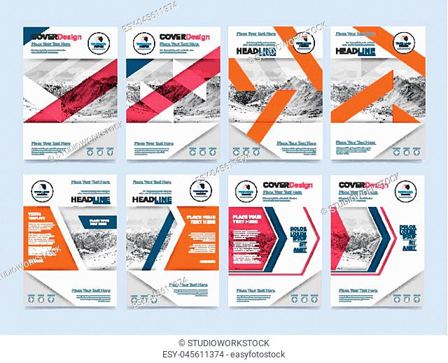Cover design for annual report or brochure. Booklet or flyer. Abstract presentation templates. Creative concept in bright colors