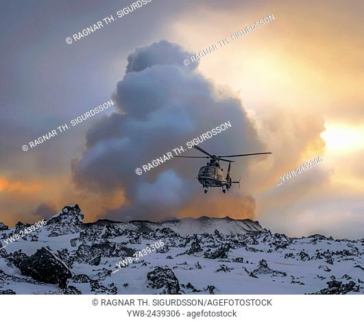 Helicopter by the Holuhraun Fissure Eruption, Bardarbunga Volcano, Iceland. August 29, 2014 a fissure eruption started in Holuhraun Picture Date: Feb