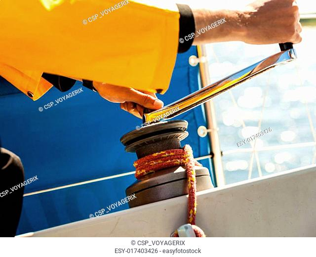 Winch capstan with rope on sailing boat