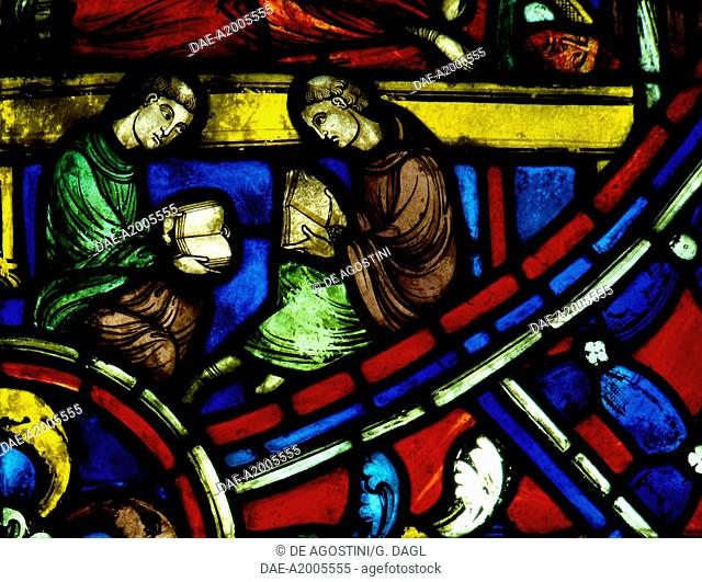 Two readers, detail from History of St Nicasius and his sister St Eutropia, 1210-1220, stained-glass, Soissons Cathedral, Picardy