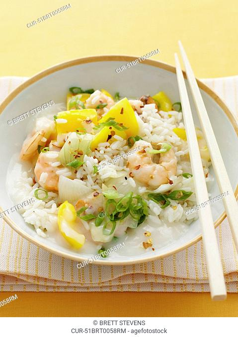 Asian Chilli Prawns, White Rice, Spring Onions, Chilli Flakes, Yellow Pepper, Onion
