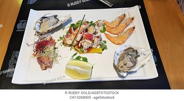 Combined shellfish dish with oysters, prawns, and Salpicón, a term used to refer to a combination of infredients mixed in a sort of salad
