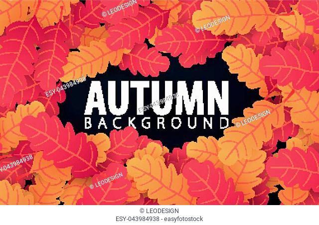 Autumn banner with leaves background for shopping sale, promo poster and frame leaflet, web banner. Vector illustration