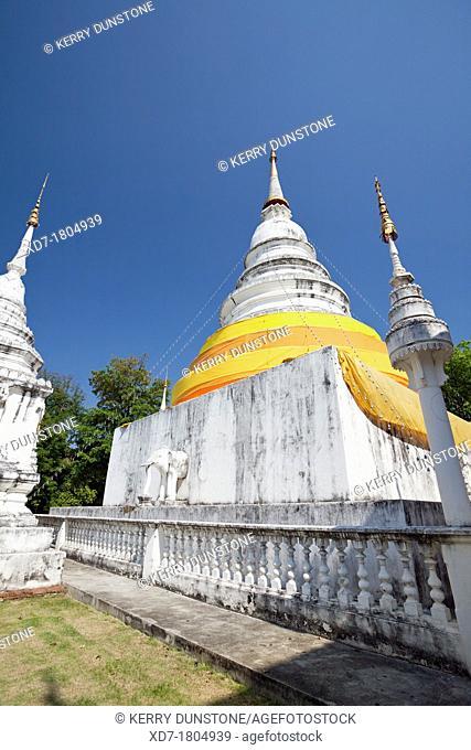 Large white stupa, Wat Phra Singh, Chiang Mai, Thailand
