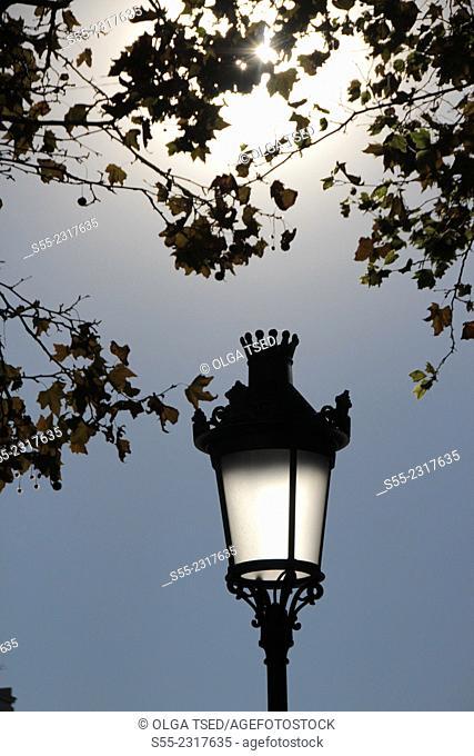 Street light. Rambla Catalunya, Barcelona, Catalonia, Spain