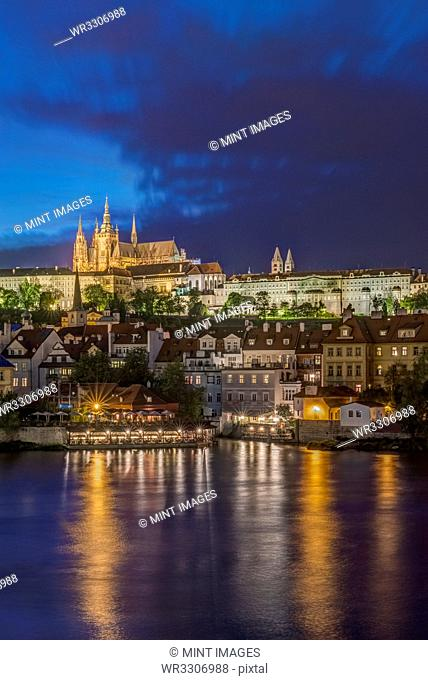 Prague Castle illuminated at night, Prague, Central Bohemia, Czech Republic