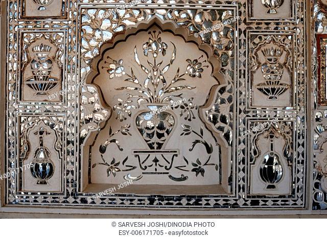 mirror work window verandah inside Amber Fort Jaipur Rajasthan India Asia