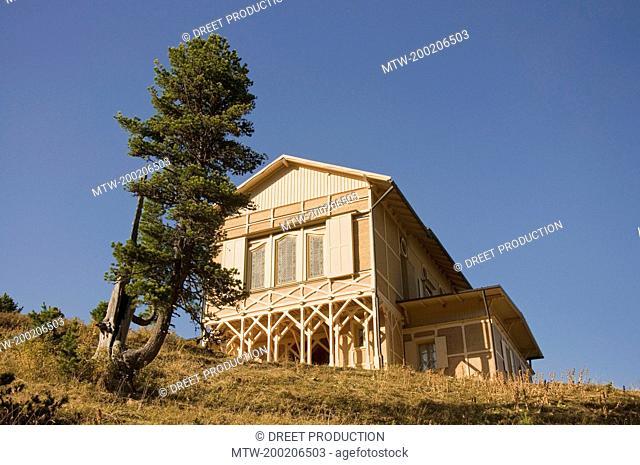 View of mountain hut at Wetterstein, Schachen, Bavaria, Germany