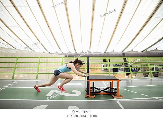 Runner pushing sprinting sled on indoor track