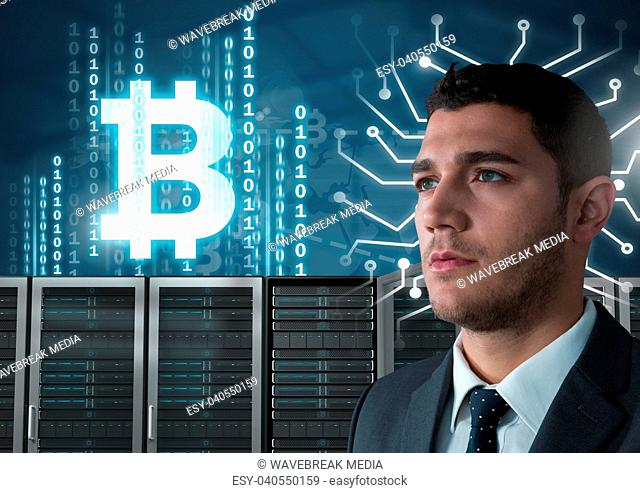 Man with computer servers and bitcoin technology information interface