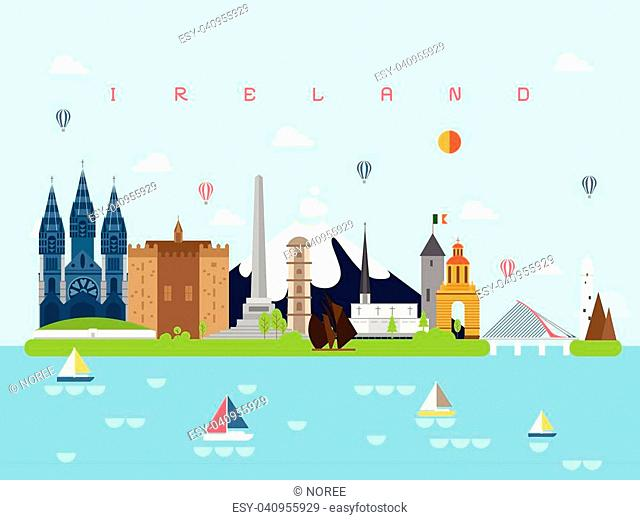 Ireland Famous Landmarks Infographic Templates for Traveling Minimal Style and Icon, Symbol Set Vector Illustration Can be use for Poster Travel book, Postcard