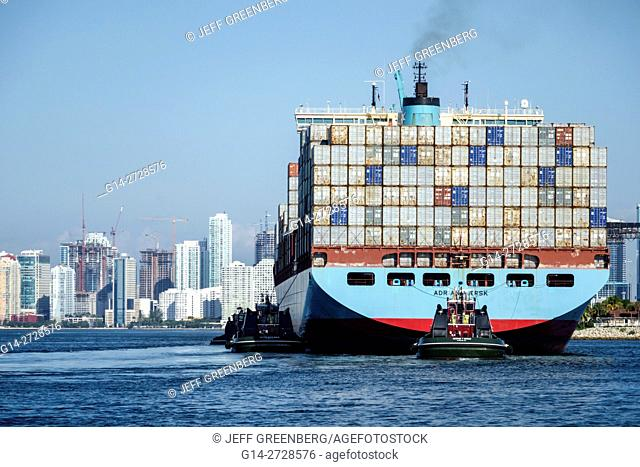 Florida, Miami, Biscayne Bay, Port of Miami, Government Cut, shipping channel, water, container ship, cargo, Maersk Line, transportation