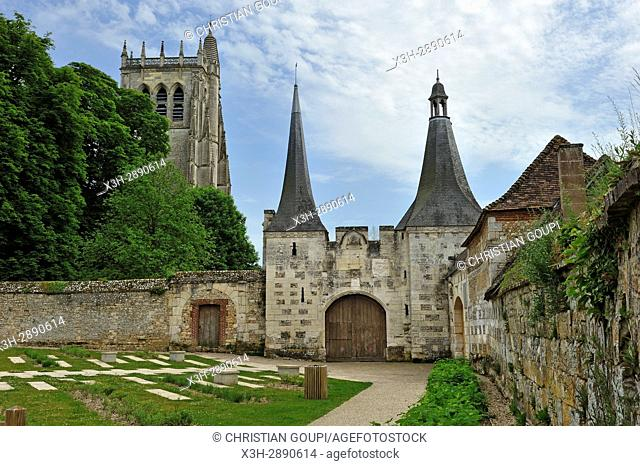 former main entrance of the Benedictine Abbey of Our Lady of Bec, Bec-Hellouin, labelled Les Plus Beaux Villages de France, Eure department, Normandie region