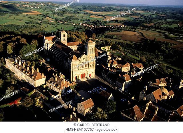 France, Yonne, Vezelay village, labelled Les Plus Beaux Villages de France The Most Beautiful Villages of France, and Sainte Madeleine basilica aerial view